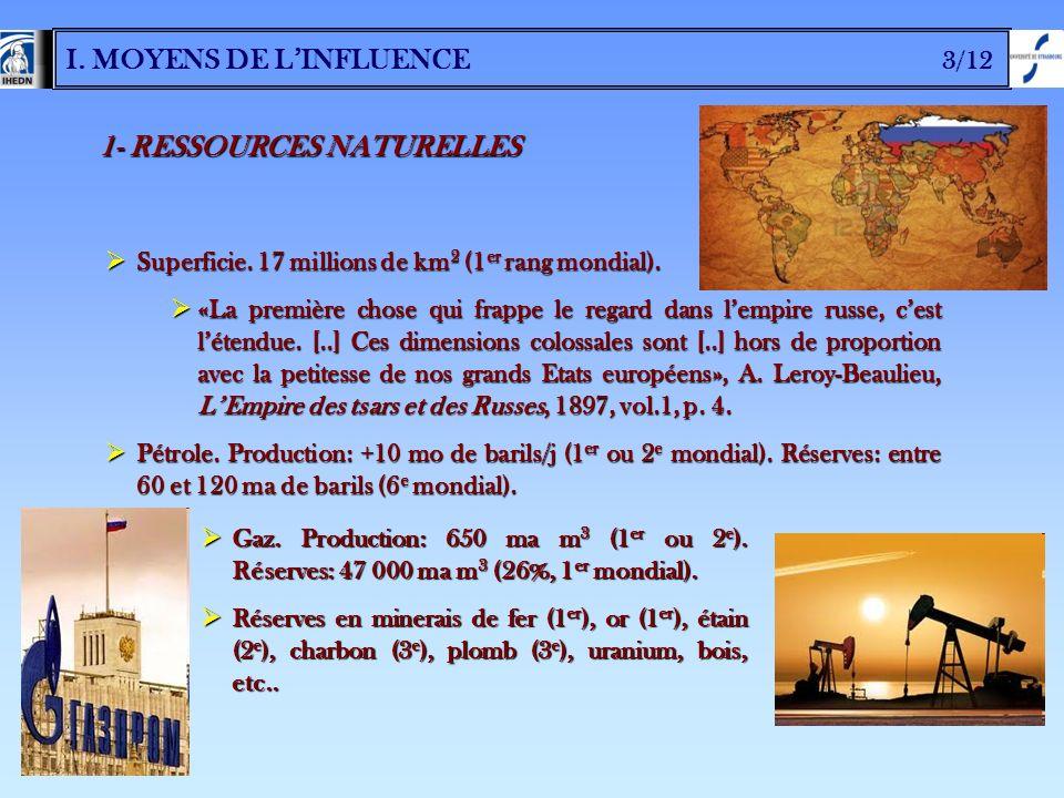 I. MOYENS DE L'INFLUENCE 3/12