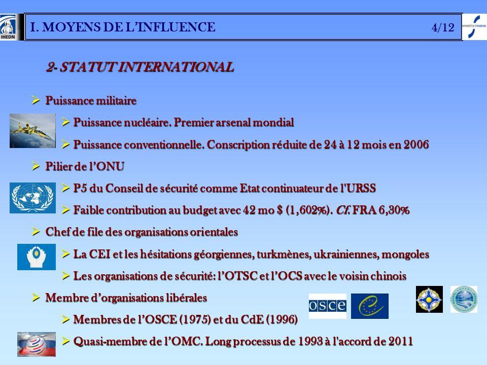 I. MOYENS DE L'INFLUENCE 4/12