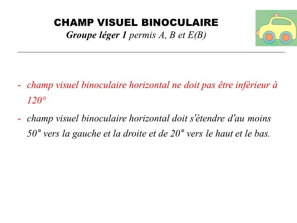 CHAMP VISUEL BINOCULAIRE Groupe léger 1 permis A, B et E(B)