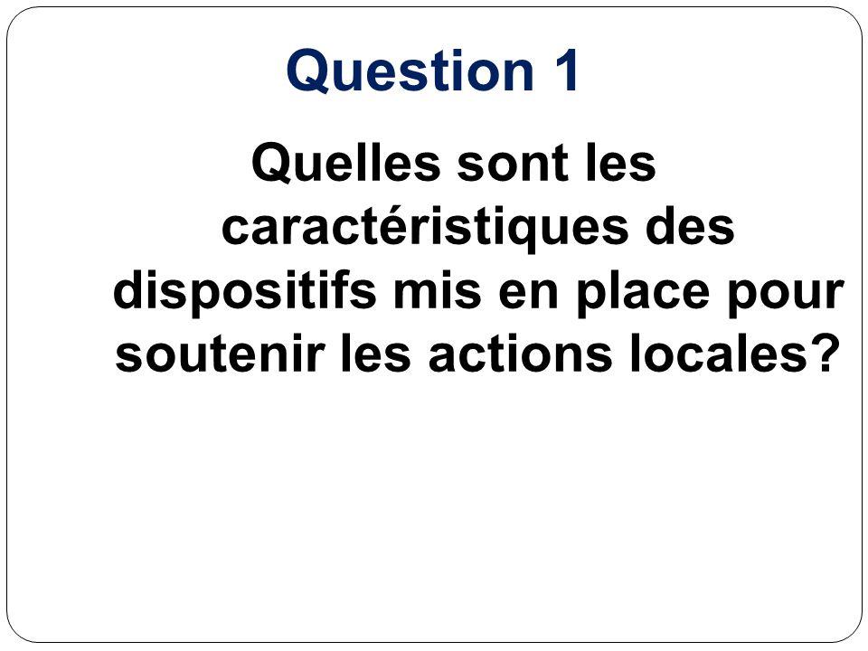 Question 1 Quelles sont les caractéristiques des dispositifs mis en place pour soutenir les actions locales