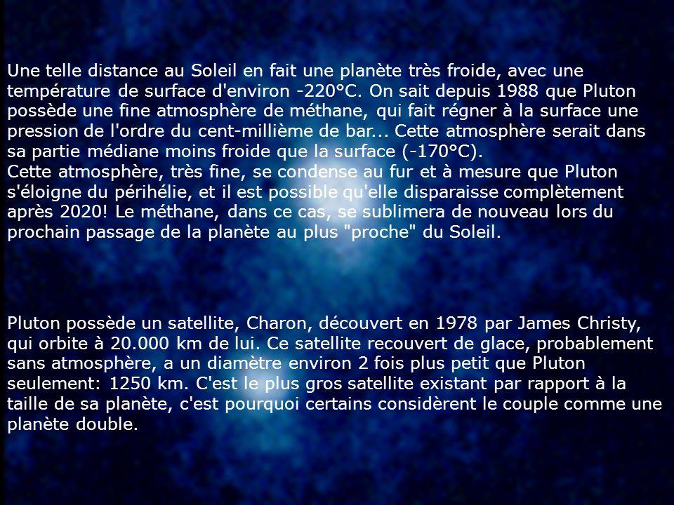 Une telle distance au Soleil en fait une planète très froide, avec une température de surface d environ -220°C. On sait depuis 1988 que Pluton possède une fine atmosphère de méthane, qui fait régner à la surface une pression de l ordre du cent-millième de bar... Cette atmosphère serait dans sa partie médiane moins froide que la surface (-170°C). Cette atmosphère, très fine, se condense au fur et à mesure que Pluton s éloigne du périhélie, et il est possible qu elle disparaisse complètement après 2020! Le méthane, dans ce cas, se sublimera de nouveau lors du prochain passage de la planète au plus proche du Soleil.