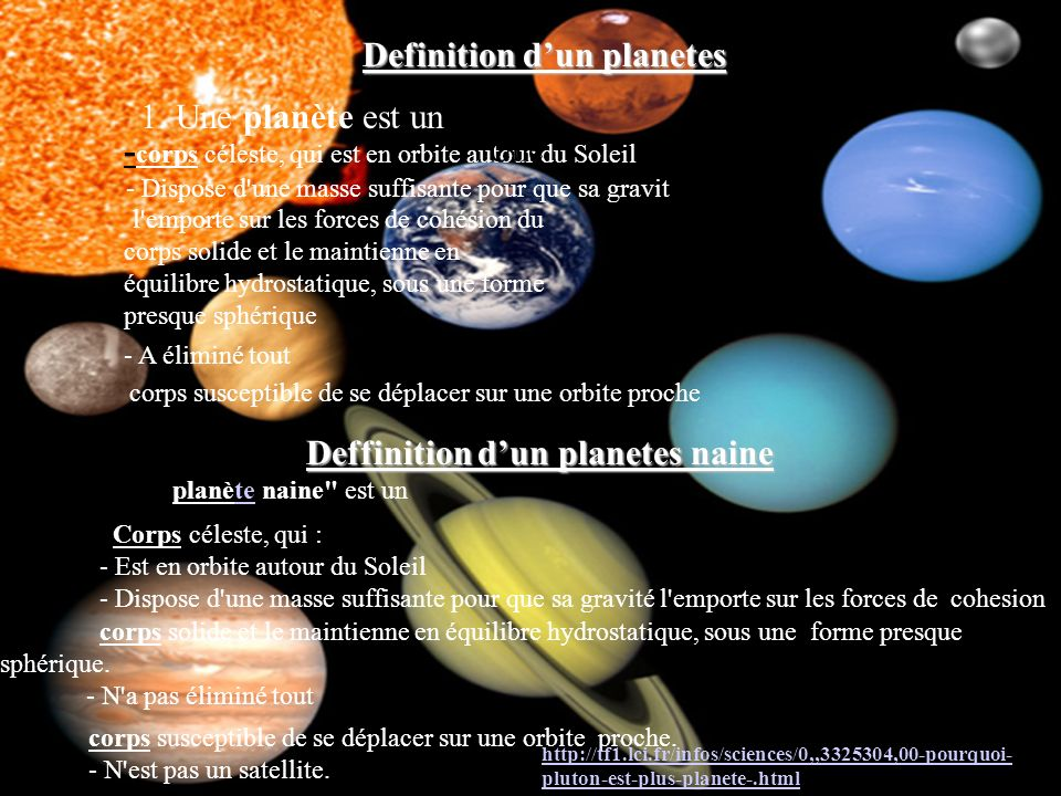 Definition d'un planetes Deffinition d'un planetes naine