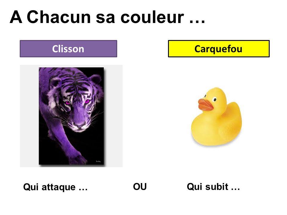 A Chacun sa couleur … Clisson Carquefou Qui attaque … OU Qui subit …