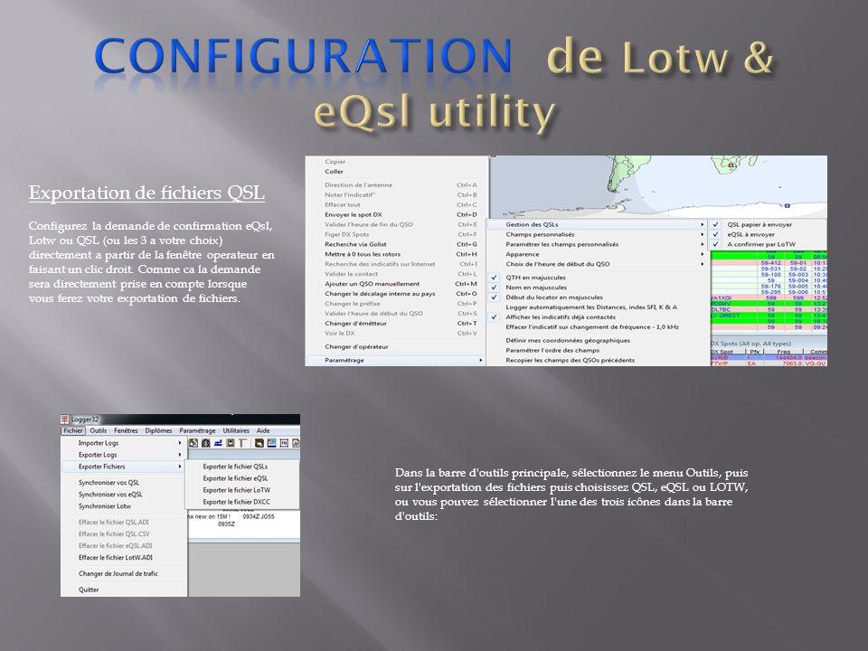 Configuration de Lotw & eQsl utility