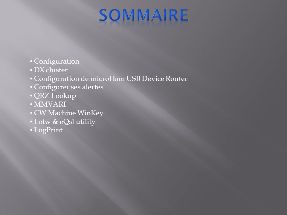 sommaire Configuration DX cluster