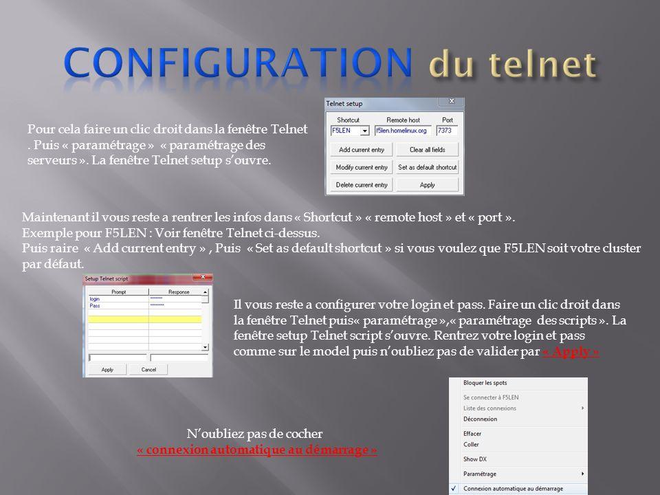 Configuration du telnet