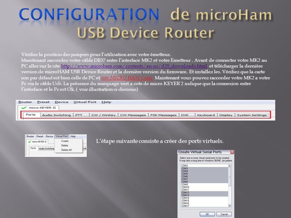 Configuration de microHam USB Device Router