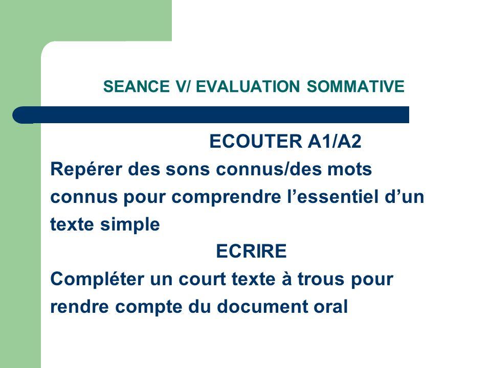 SEANCE V/ EVALUATION SOMMATIVE