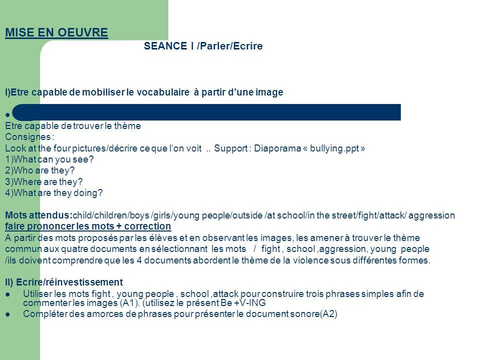 MISE EN OEUVRE SEANCE I /Parler/Ecrire. I)Etre capable de mobiliser le vocabulaire à partir d'une image.