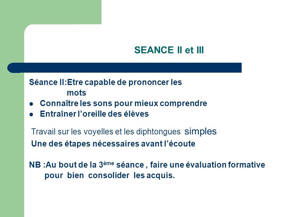 SEANCE II et III Séance II:Etre capable de prononcer les mots
