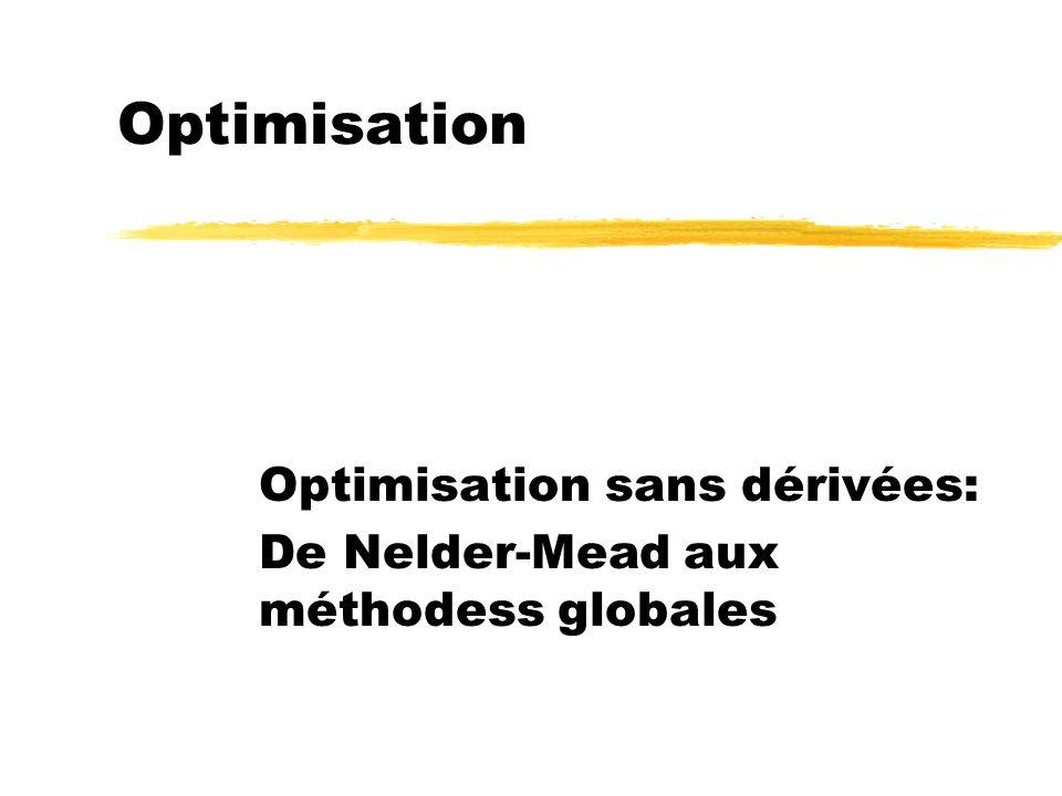 Optimisation sans dérivées: De Nelder-Mead aux méthodess globales