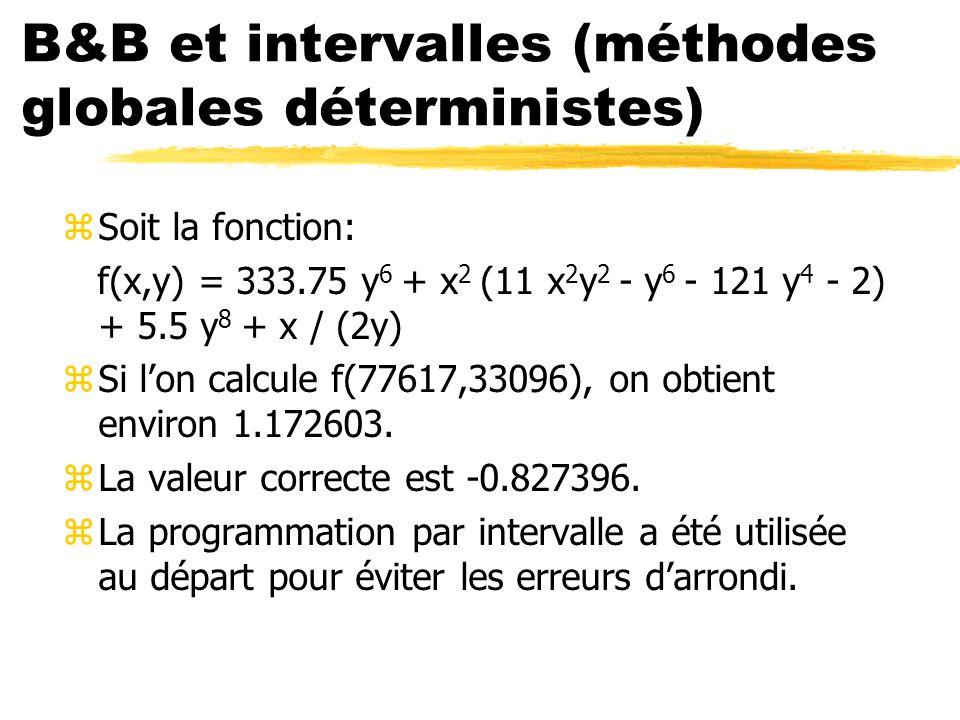 B&B et intervalles (méthodes globales déterministes)