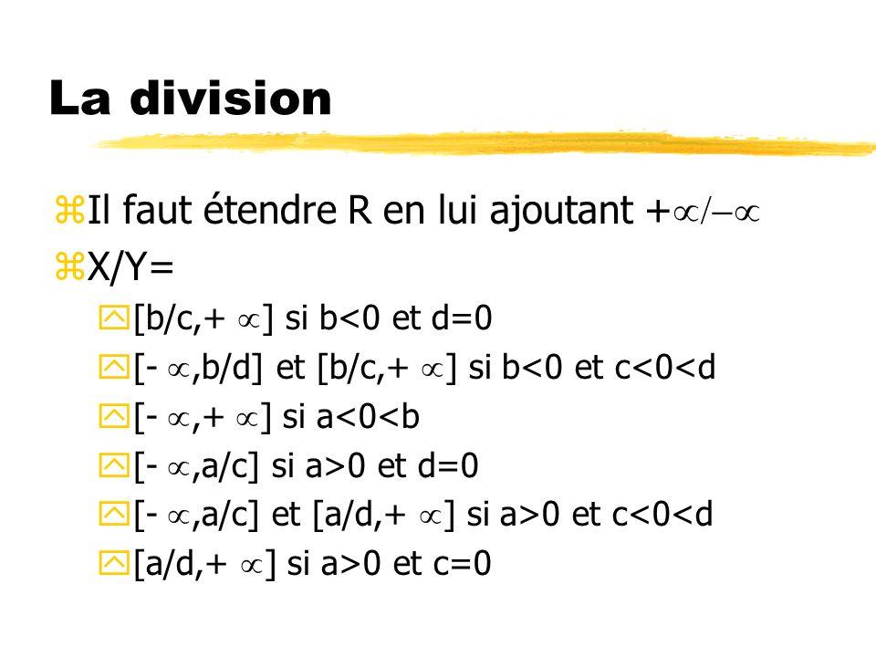 La division Il faut étendre R en lui ajoutant +µ/-µ X/Y=