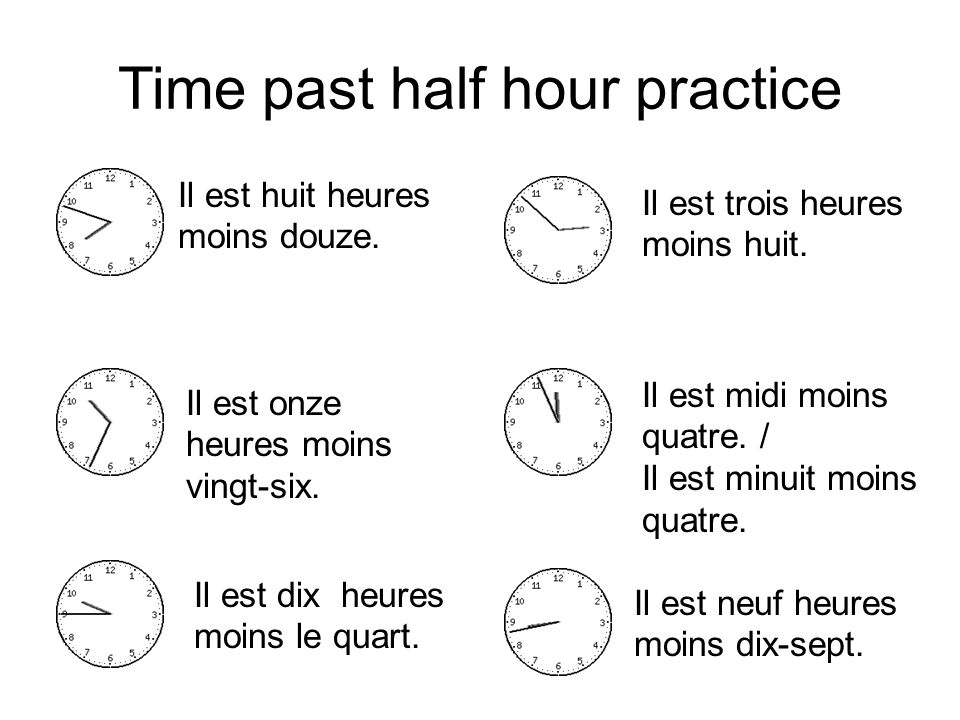 Time past half hour practice
