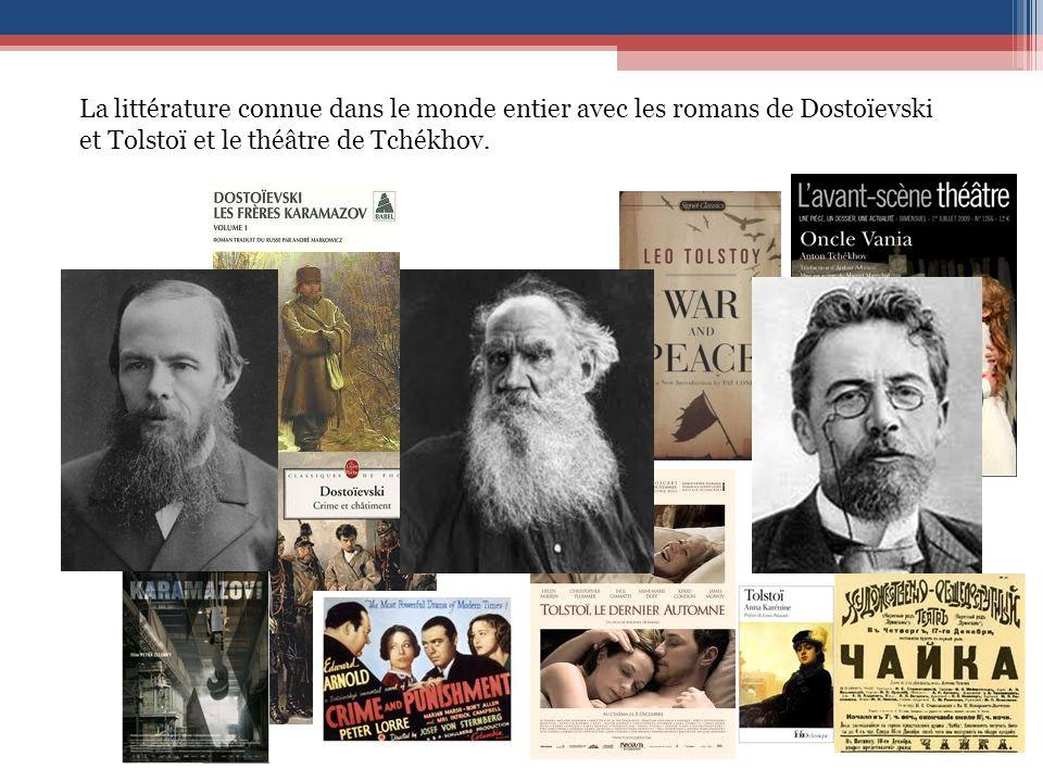 La littérature connue dans le monde entier avec les romans de Dostoïevski