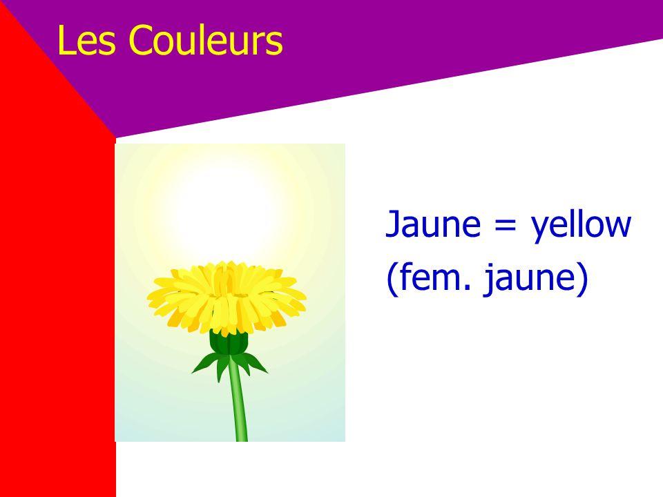 Les Couleurs Jaune = yellow (fem. jaune)