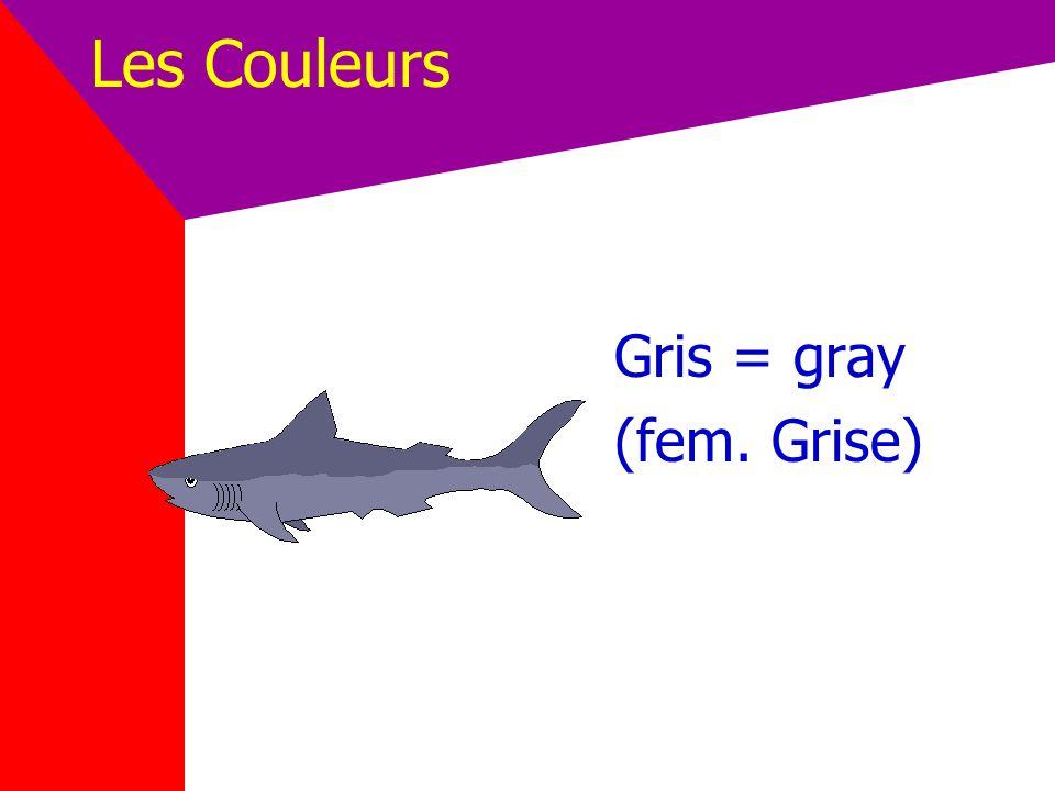 Les Couleurs Gris = gray (fem. Grise)