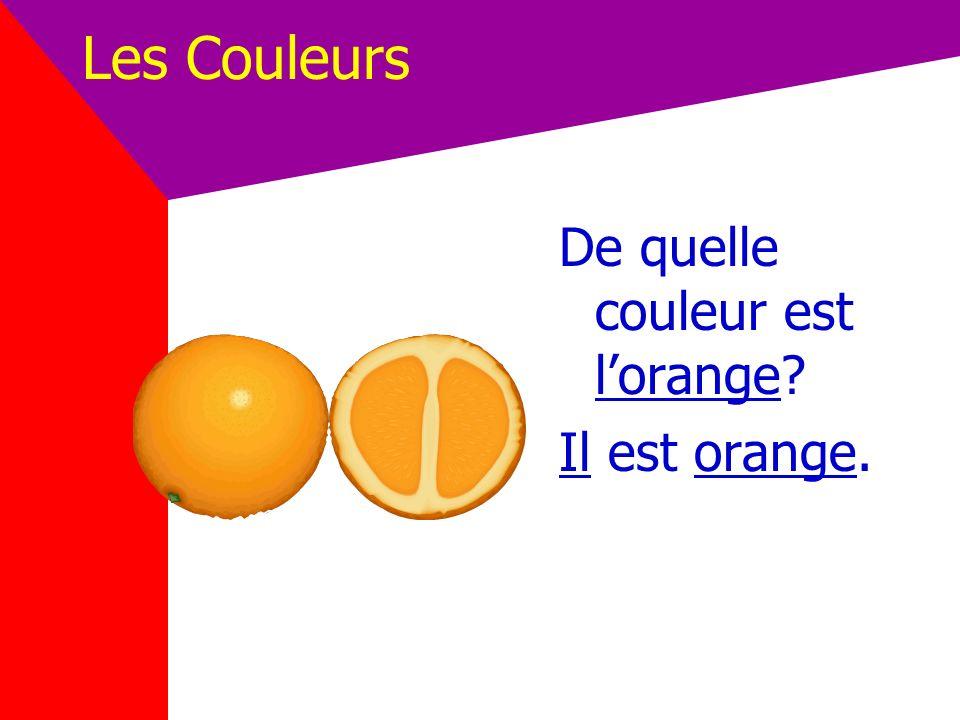 Les Couleurs De quelle couleur est l'orange Il est orange.