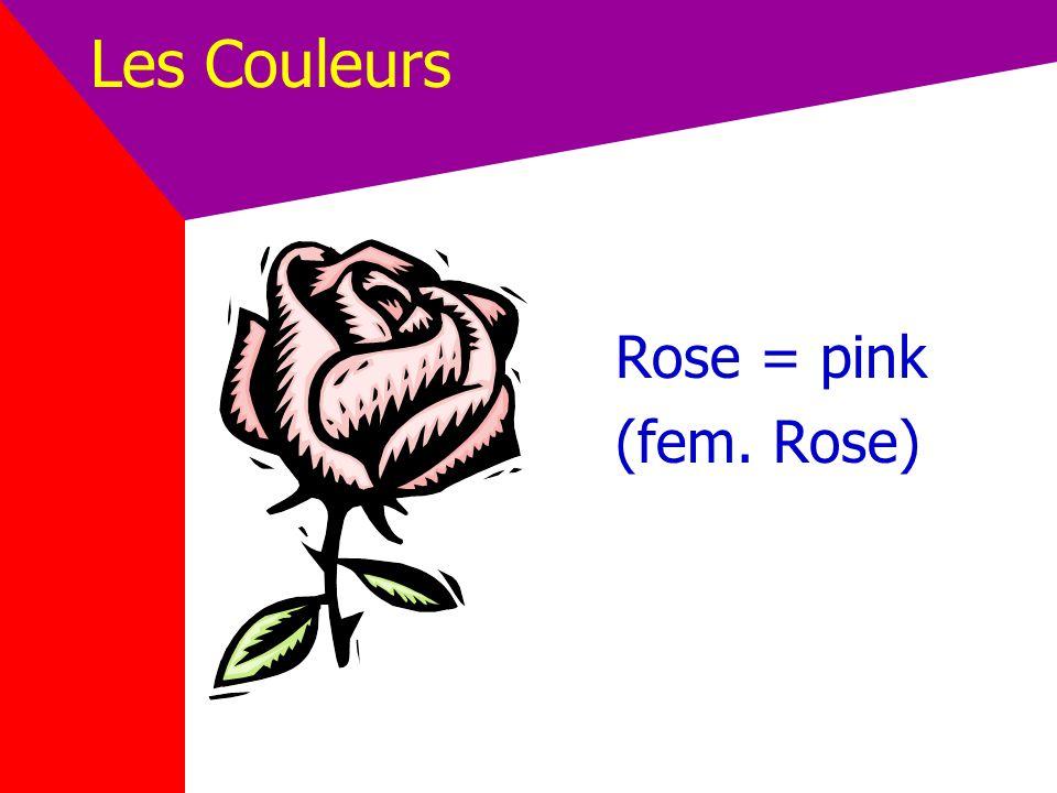 Les Couleurs Rose = pink (fem. Rose)