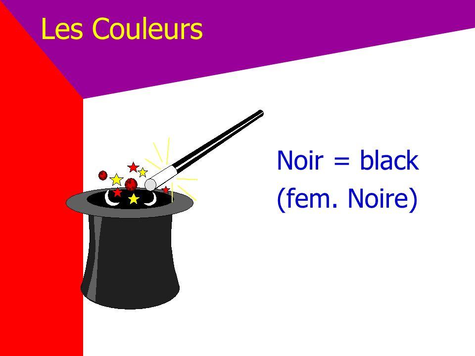Les Couleurs Noir = black (fem. Noire)