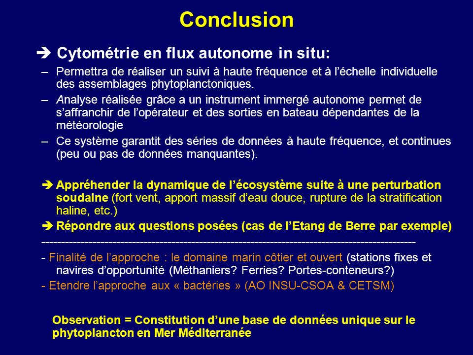 Conclusion  Cytométrie en flux autonome in situ: