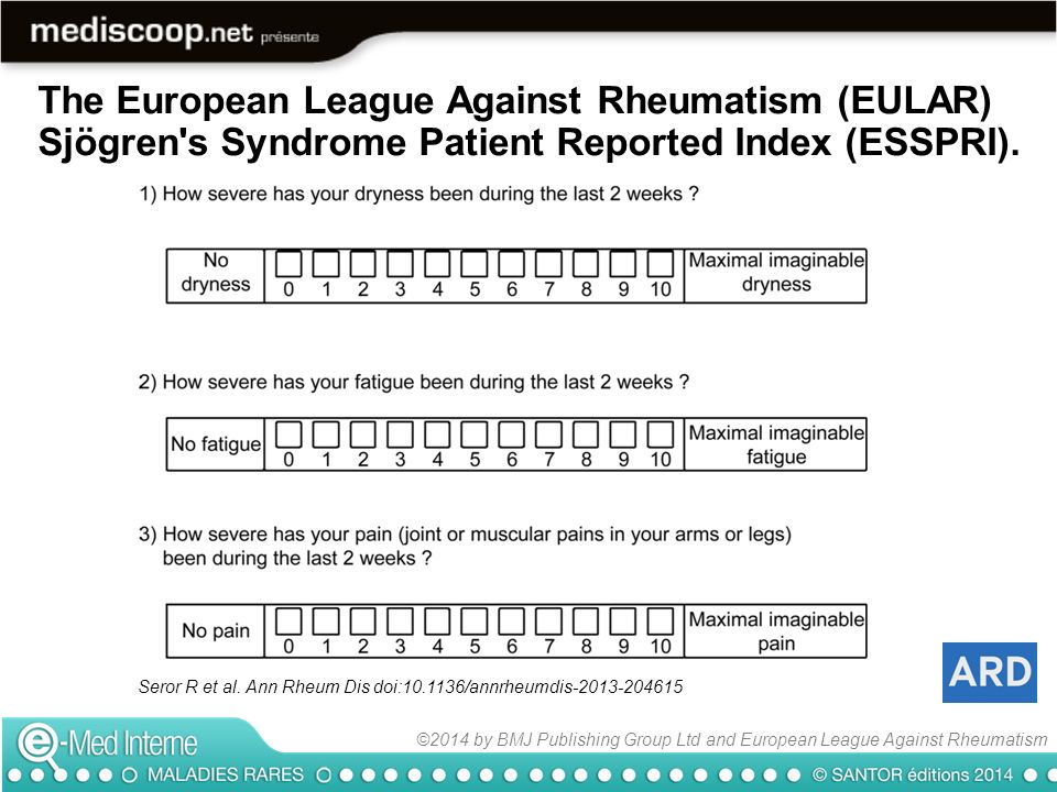 The European League Against Rheumatism (EULAR) Sjögren s Syndrome Patient Reported Index (ESSPRI).