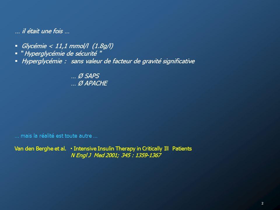 Glycémie < 11,1 mmol/l (1.8g/l) Hyperglycémie de sécurité
