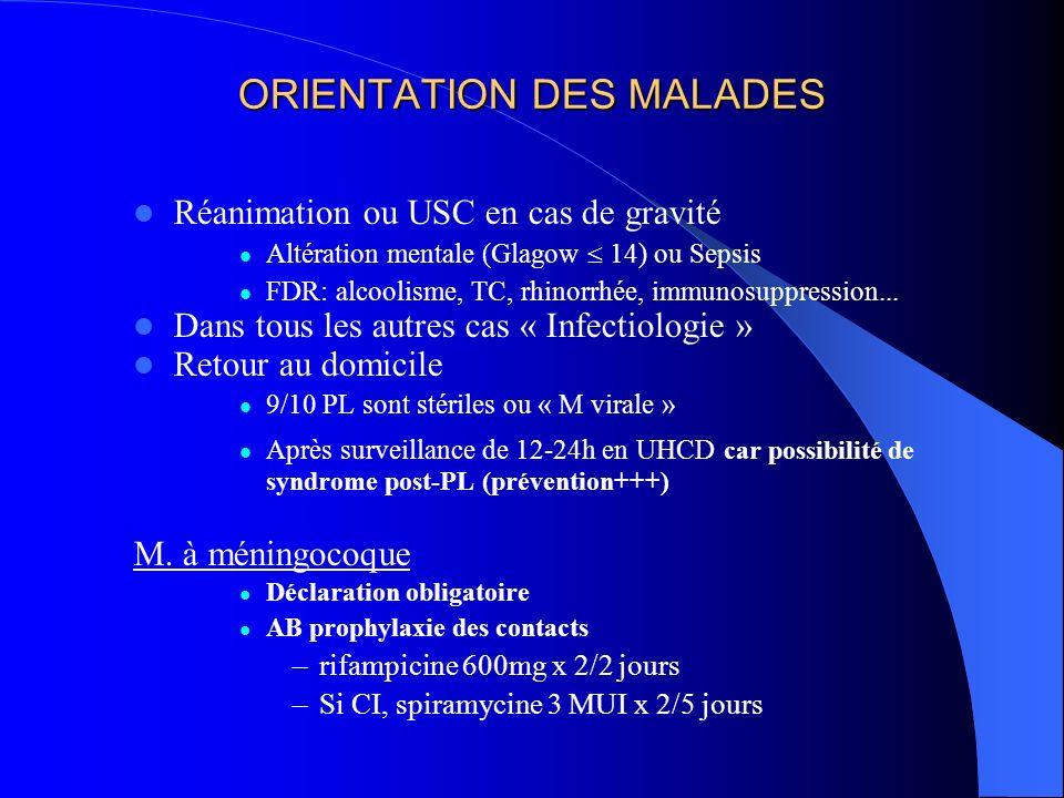ORIENTATION DES MALADES