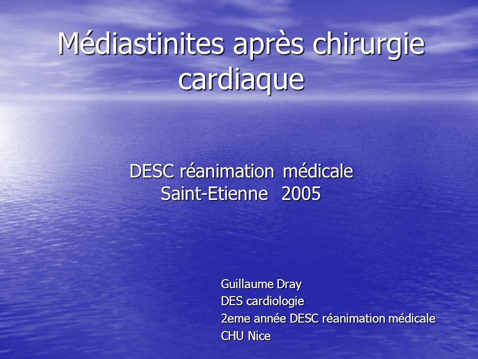 Médiastinites après chirurgie cardiaque DESC réanimation médicale Saint-Etienne 2005