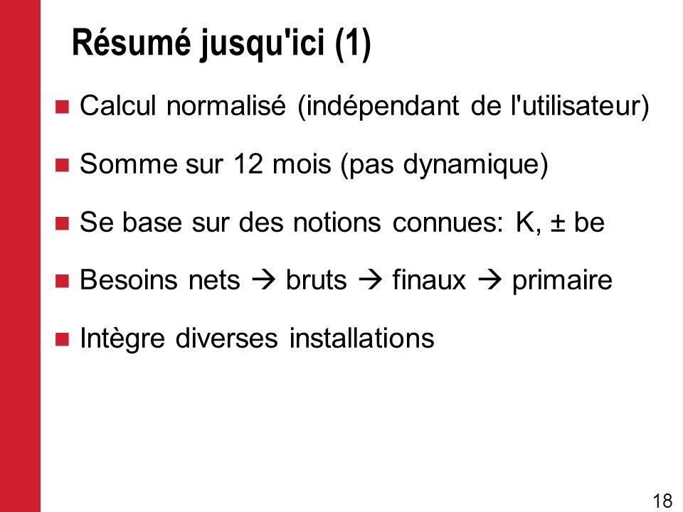 Résumé jusqu ici (1) Calcul normalisé (indépendant de l utilisateur)