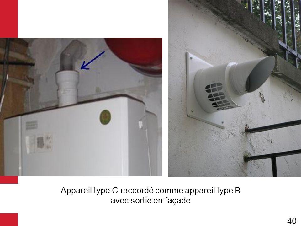 Appareil type C raccordé comme appareil type B avec sortie en façade
