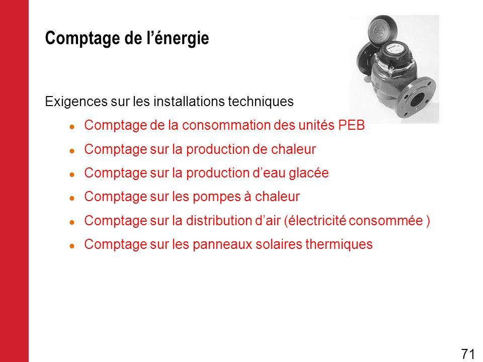 Comptage de l'énergie Exigences sur les installations techniques