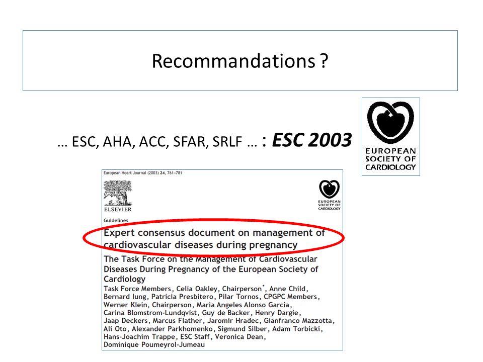 Recommandations … ESC, AHA, ACC, SFAR, SRLF … : ESC 2003