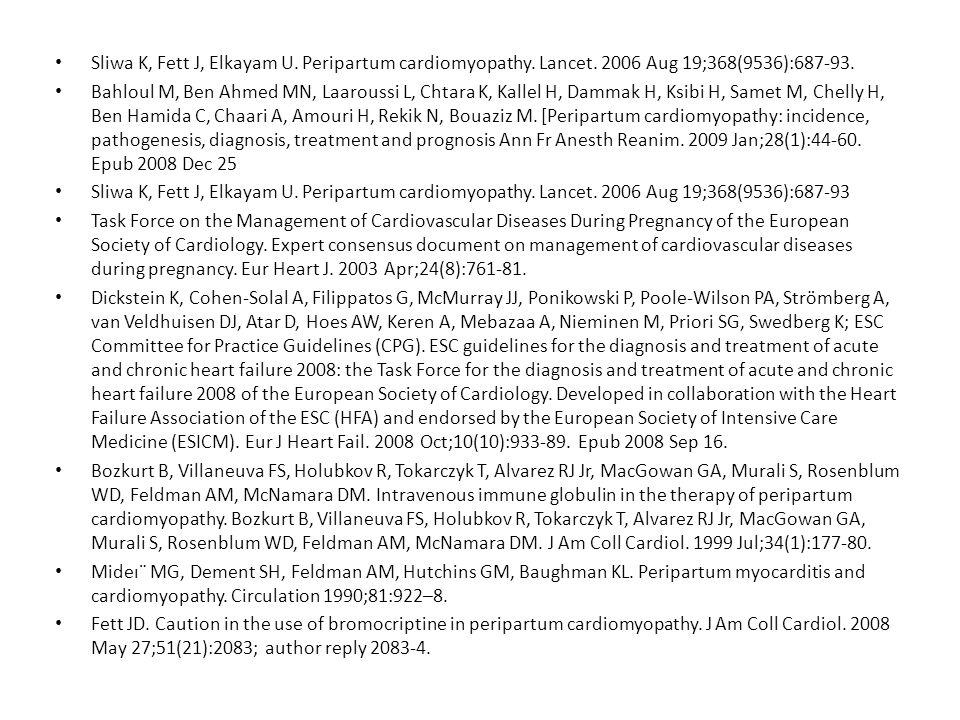 Sliwa K, Fett J, Elkayam U. Peripartum cardiomyopathy. Lancet