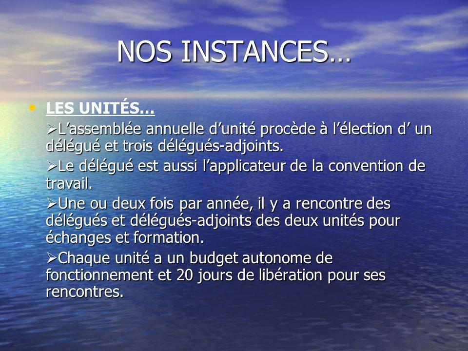 NOS INSTANCES… LES UNITÉS…
