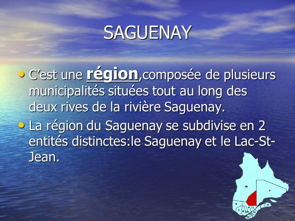 SAGUENAY C'est une région,composée de plusieurs municipalités situées tout au long des deux rives de la rivière Saguenay.