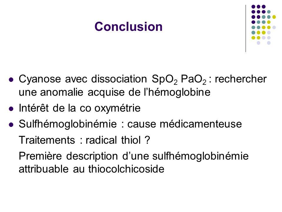 Conclusion Cyanose avec dissociation SpO2 PaO2 : rechercher une anomalie acquise de l'hémoglobine.