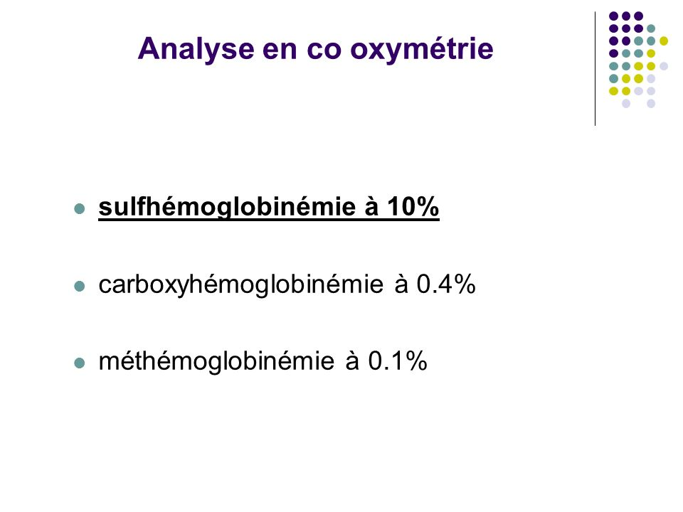 Analyse en co oxymétrie