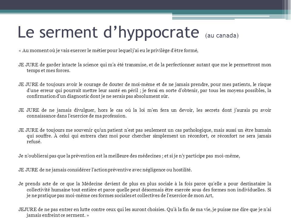Le serment d'hyppocrate (au canada)