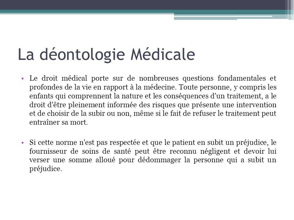 La déontologie Médicale