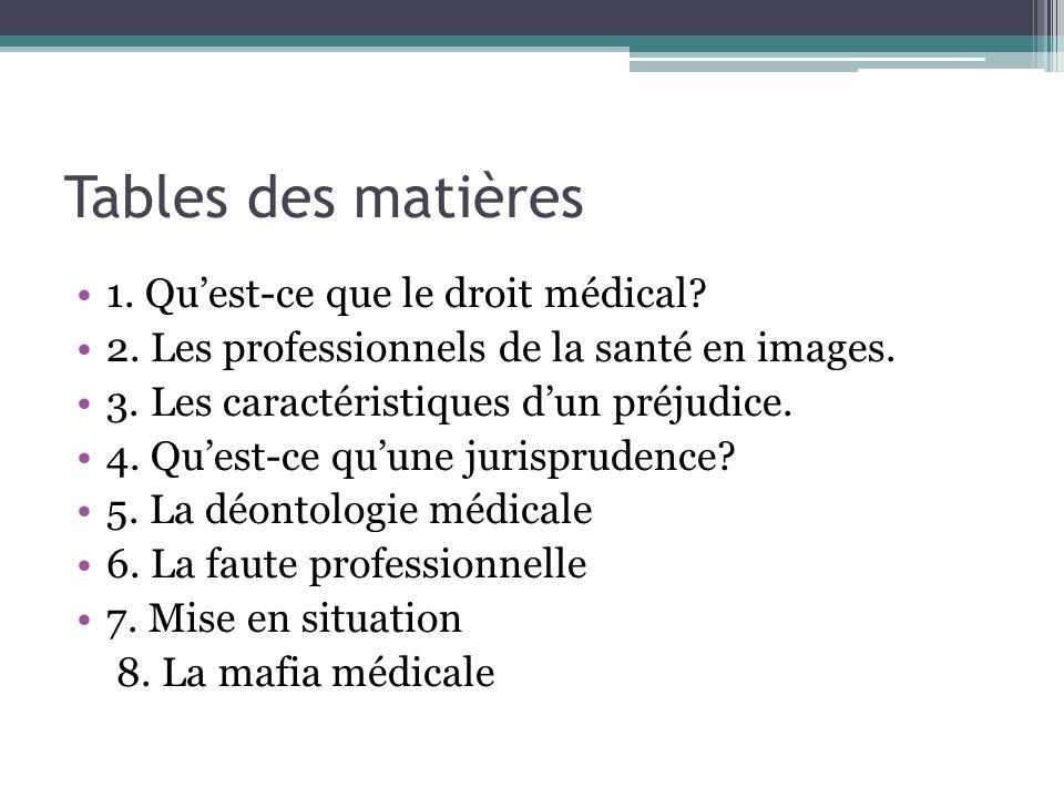 Tables des matières 1. Qu'est-ce que le droit médical