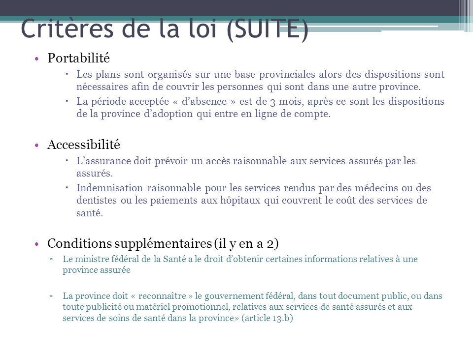 Critères de la loi (SUITE)