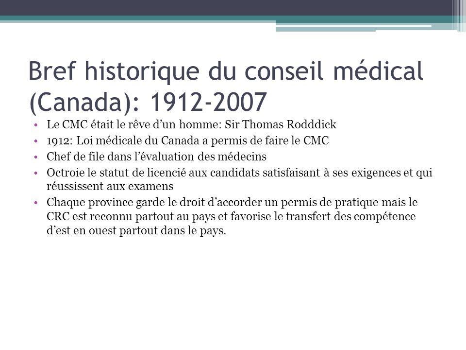 Bref historique du conseil médical (Canada): 1912-2007