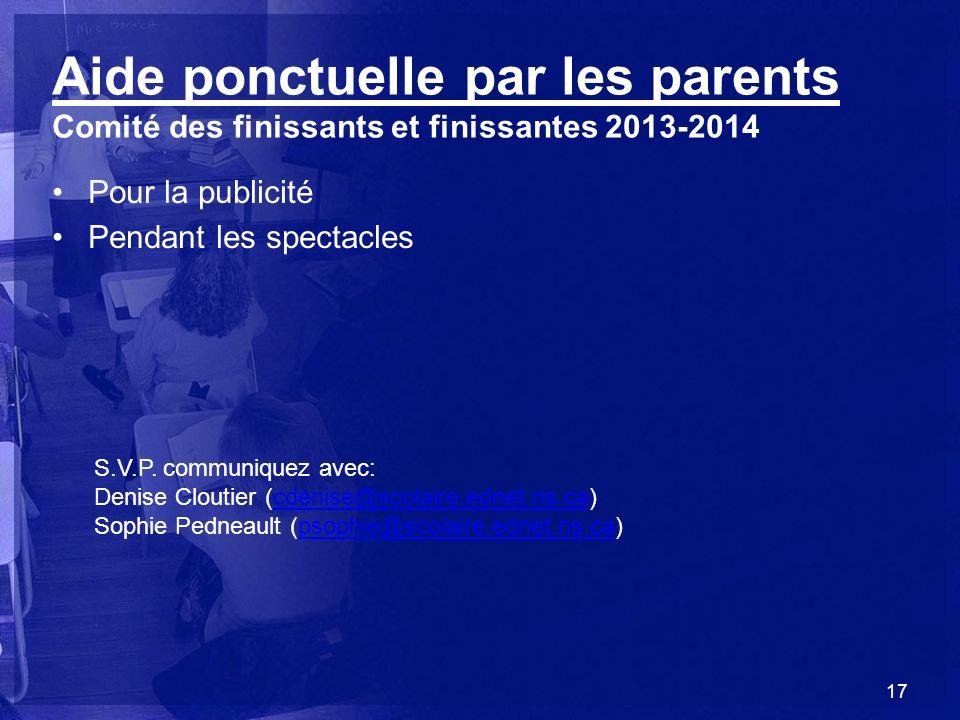 Aide ponctuelle par les parents Comité des finissants et finissantes 2013-2014