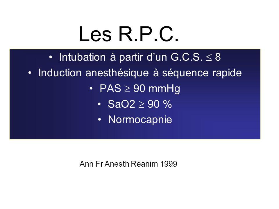 Les R.P.C. Intubation à partir d'un G.C.S.  8