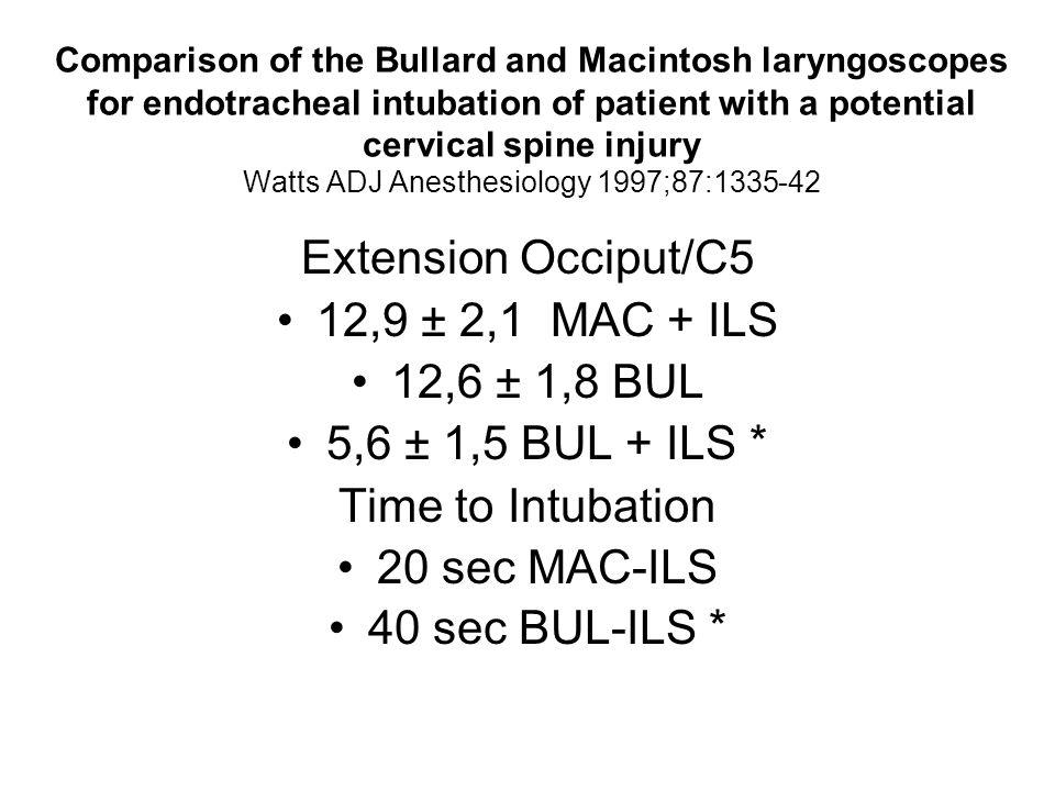 Extension Occiput/C5 12,9 ± 2,1 MAC + ILS 12,6 ± 1,8 BUL