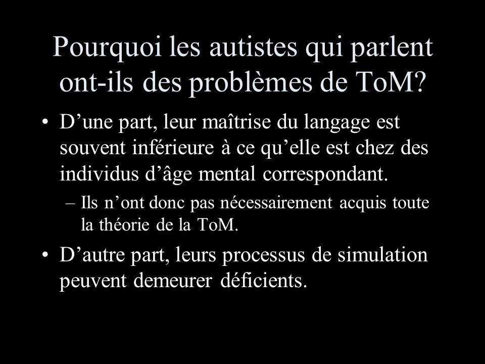 Pourquoi les autistes qui parlent ont-ils des problèmes de ToM