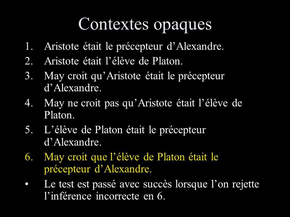 Contextes opaques Aristote était le précepteur d'Alexandre.