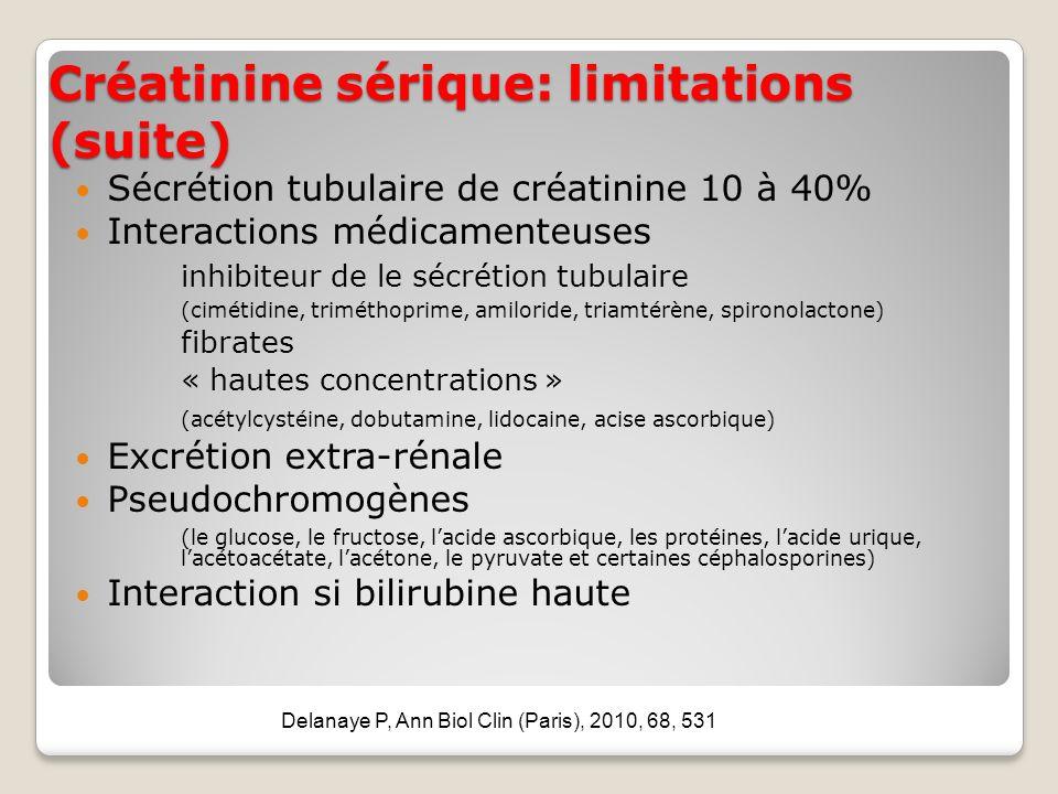 Créatinine sérique: limitations (suite)