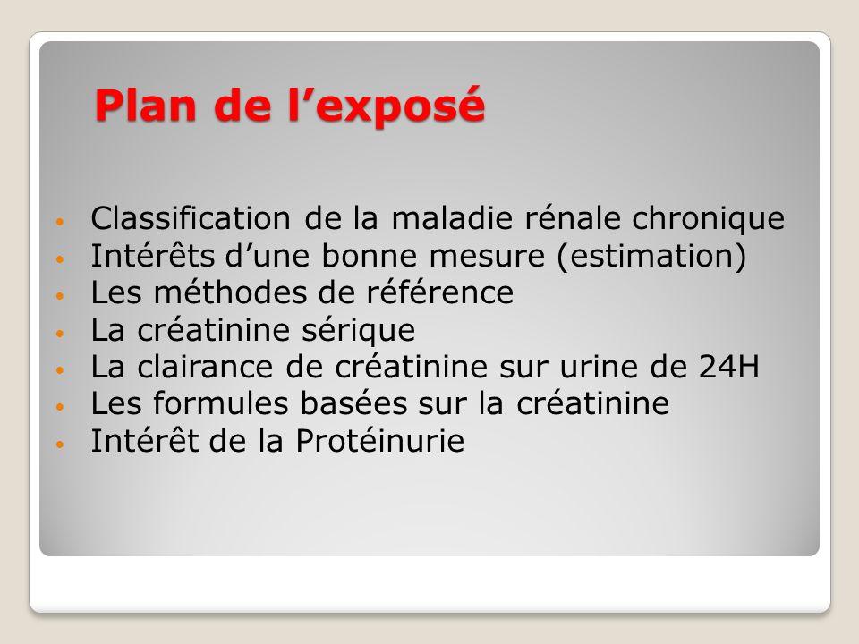 Plan de l'exposé Classification de la maladie rénale chronique